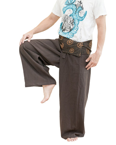 extra long thai fisherman pants flexible relaxed low crotch ancient tribal spiral wrap around fold over waist plus size loose fit yoga pants dark brown dance