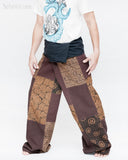 extra long thai fisherman pants handmade tribal patchwork wrap around trousers pajamas fold over waist plus size for tall people brown sox8 left