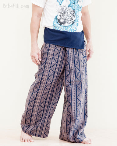extra long thai fisherman pants high quality cotton flexible wrap around fold over waist loose fit yoga trousers tall plus size inca triangle tribal stripe blue walk