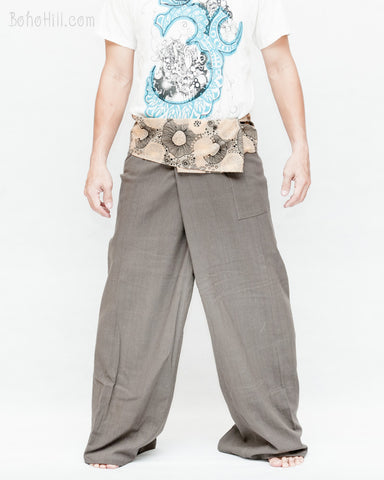 extra long thai fisherman pants long belt wrap around fold over waist lotus mushroom spore design relax low crotch loose fit plain gray front