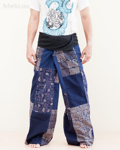 extra long thai fisherman pants original handmade tribal patchwork wrap around fold over waist relaxed loose fit yoga pants for tall people navy blue sox9 front