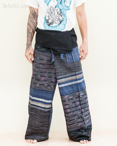 extra long thai fisherman pants wrap around fold over waist low crotch trousers for tall people unique one of a kind handwoven cotton blue purple stripes jmx31 front