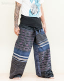 extra long thai fisherman pants wrap around fold over waist low crotch trousers for tall people unique one of a kind handwoven cotton blue purple stripes jmx31 right