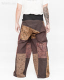 extra long thai fisherman pants wrap around fold over waist tall plus size yoga low crotch trousers handmade patchwork tribal design brown sox 9 back