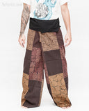extra long thai fisherman pants wrap around fold over waist tall plus size yoga low crotch trousers handmade patchwork tribal design brown sox 9 front