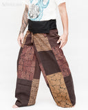 extra long thai fisherman pants wrap around fold over waist tall plus size yoga low crotch trousers handmade patchwork tribal design brown sox 9 left