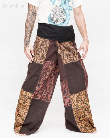 extra long thai fisherman pants wrap around fold over waist tall plus size yoga low crotch trousers handmade patchwork tribal design brown sox 9 right