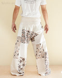 Extra Long Unique Patchwork Thai Fisherman Pants (Beige SOX8) back