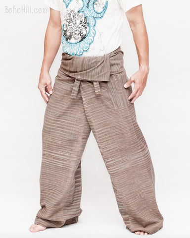 extra long unique limited thai fisherman pants wrap around fold over waist pajamas hand woven soft tribal cotton timber brown tiger stripes jmx30 left
