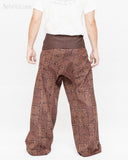 extra long wrap around fold over waist trousers handmade premium thai fisherman pants for tall people ancient tribal squares design rustic brown back