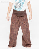 extra long wrap around fold over waist trousers handmade premium thai fisherman pants for tall people ancient tribal squares design rustic brown front
