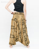 Fishbone Tribal Harem Pants Unisex Low Crotch Yoga Trousers (Golden Green) back