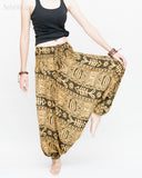 Fishbone Tribal Harem Pants Unisex Low Crotch Yoga Trousers (Golden Green) dance