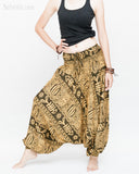 Fishbone Tribal Harem Pants Unisex Low Crotch Yoga Trousers (Golden Green) side