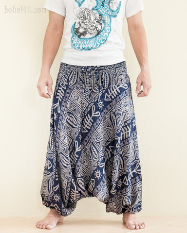 Fishbone Tribal Harem Pants Unisex Low Crotch Yoga Trousers Navy Blue front