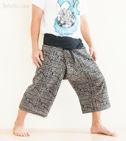 Fisherman Pants - Capri Thai Fisherman Pants (Black Broken Rock)