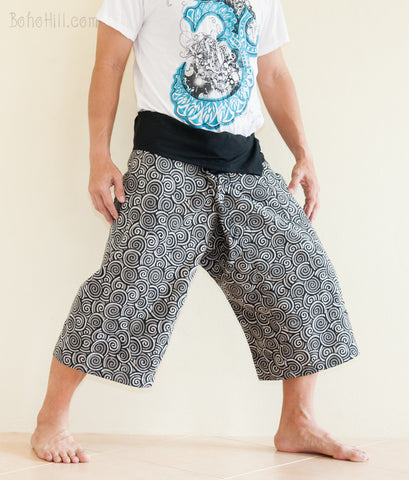 Fisherman Pants - Capri Thai Fisherman Pants (Black Japanese Swirl)