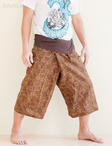 Fisherman Pants - Capri Thai Fisherman Pants (Brown Japanese Swirl)