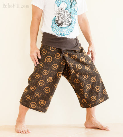 Fisherman Pants - Capri Thai Fisherman Pants (Brown Tribal Swirl)
