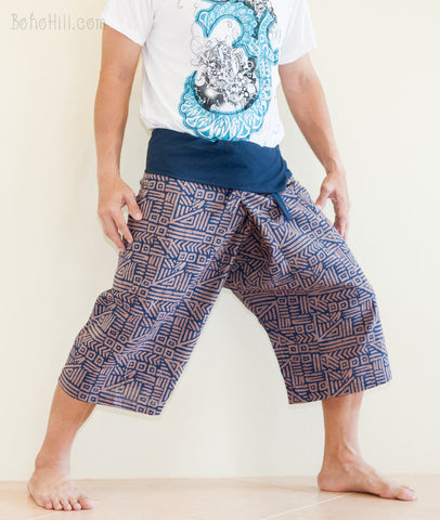 Fisherman Pants - Capri Thai Fisherman Pants (Navy Blue Broken Rock)