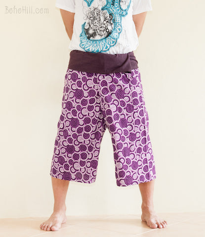Fisherman Pants - Capri Thai Fisherman Pants (Purple Japanese Swirl)