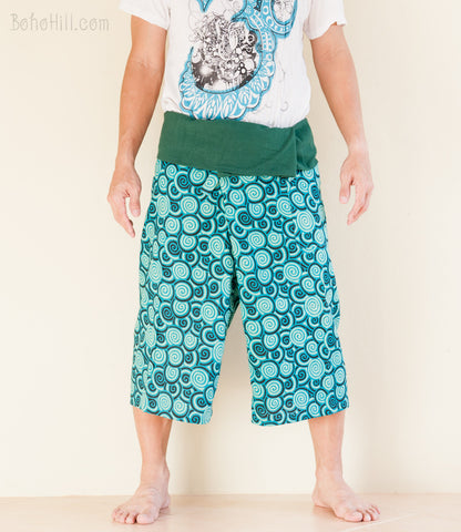 Fisherman Pants - Capri Thai Fisherman Pants (Teal Blue Japanese Swirl)