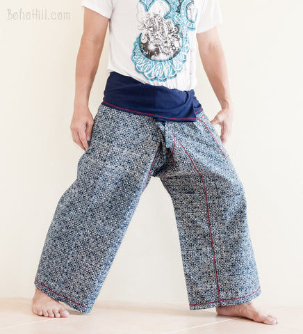 Fisherman Pants - Indigo Dye Cropped Fisherman Pants 4/5 Length (IW-2)