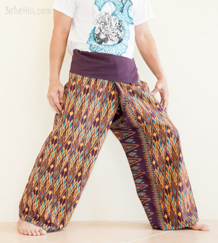 Fisherman Pants - Oriental Diamond Weaving Printed Cotton Thai Fisherman Pants (Deep Purple)