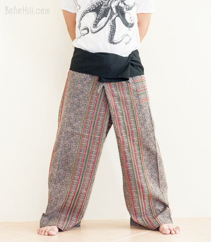 Fisherman Pants - Original Full Body Hmong Embroidery Patchwork Low Crotch Thai Fisherman Pants (SOL-FW5)