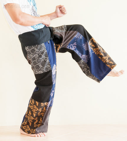 Fisherman Pants - Patchwork Fisherman Pants Unique Unisex Wrap Around Trousers (Multicolor SOL1)