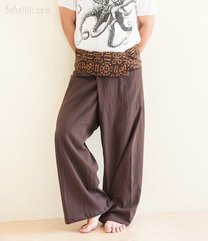 Fisherman Pants - Premium Cotton Thai Fisherman Pants With Tribal Pattern (Brown SOL)