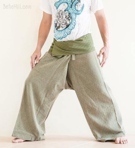 Fisherman Pants - Premium Super Soft Weaving Textured Cotton Fisherman Pants (worn Out Eco Green)