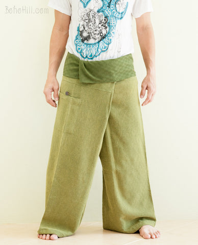Fisherman Pants - Premium Super Soft Weaving Textured Fisherman Pants (worn Out Green)