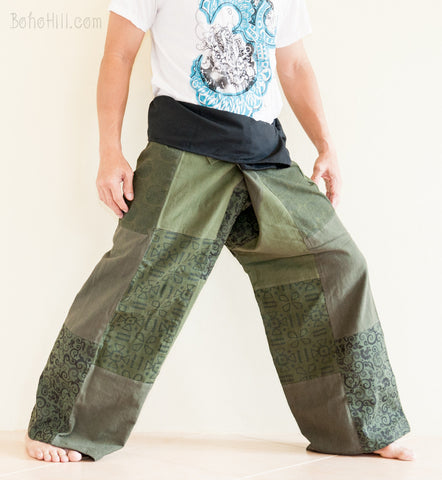 Fisherman Pants - Unique Patchwork Fisherman Pants Unisex Wrap Around Trousers (Green SOL1)