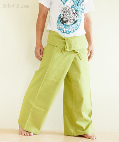 Fisherman Pants - Zen Monastery Premium Cotton Fisherman Pants (Lemon Green)