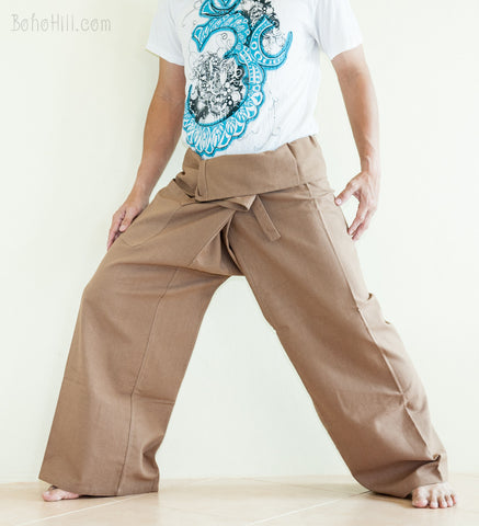 Fisherman Pants - Zen Monastery Premium Cotton Fisherman Pants (Wooden Brown)