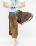 flexible active samurai hakama crop pants indigo wrap around fold over waist unique tribal yoga martial art trousers japanese waves design brown dance