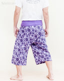 fun colorful capri shorts dropped crotch thai fisherman pants relaxed loose fit wrap around fold over waist cropped yoga trousers cool purple japanese tribal spiral back