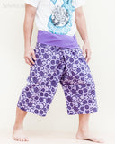 fun colorful capri shorts dropped crotch thai fisherman pants relaxed loose fit wrap around fold over waist cropped yoga trousers cool purple japanese tribal spiral side