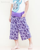 fun colorful capri shorts dropped crotch thai fisherman pants relaxed loose fit wrap around fold over waist cropped yoga trousers cool purple japanese tribal spiral walk