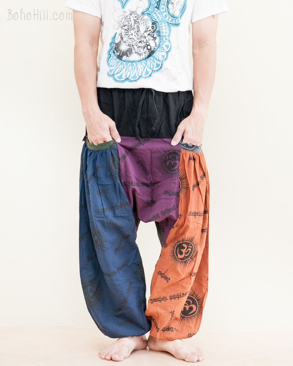 590127b067 fun-colorful-hippie-patchwork-baggy-aladdin-bloomers-low-crotch-harem-pants-om-sanskrit-pattern-relaxed-loose-fit-pull-on-big-pockets-blue-purple-orange-  ...