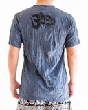 Ganesha Hindu Om Drawing Crinkle Men's T-Shirt Grayish Navy back