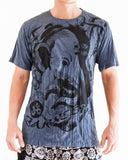Ganesha Hindu Om Drawing Crinkle Men's T-Shirt Grayish Navy front