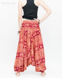 Harem Pants Boho Yoga Trousers Thai Aladdin Low Crotch (Brick Tribal Fishbone) back