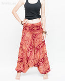 Harem Pants Boho Yoga Trousers Thai Aladdin Low Crotch (Brick Tribal Fishbone) front