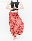 Harem Pants Boho Yoga Trousers Thai Aladdin Low Crotch (Brick Tribal Fishbone) namaste