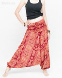 Harem Pants Boho Yoga Trousers Thai Aladdin Low Crotch (Brick Tribal Fishbone) side