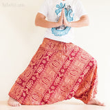 genie pants unisex baggy ninja harem yoga trousers tribal fishbone orange wide