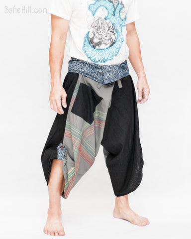 gray samurai harem pants colorful brush stroke design tribal diamond sayagata aizome indigo dye wrap around waist ninja hakama trousers size m l side