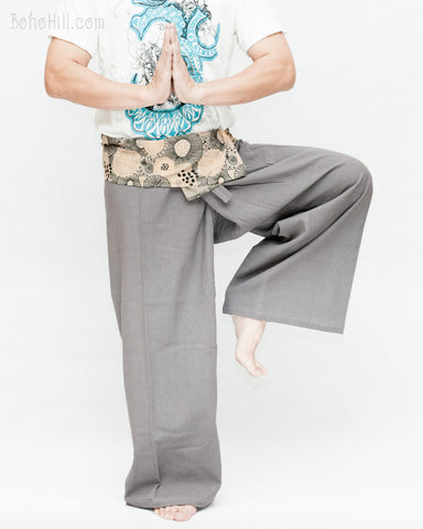 gray thai fisherman pants long belt wrap around fold over waist lotus mushroom spore design relax low crotch loose fit dance